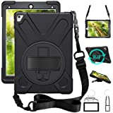 iPad pro 9.7 case, 360 Degrees rotable Handle Stand Hard Kickstand Layer Shockproof Dropproof Hybrid Layer Case Cover Skin wi