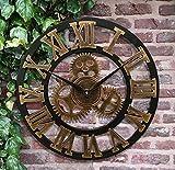 Amazon.co.jpロフト スタイル 欧米風 壁掛け時計 木製 ギアの型 アンティーク 丸い 静音 飾り サイドオープン 防湿防虫