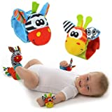 Newborn Toys, BIGBOBA 4 Animal Wrist Rattle and Foot Finder Socks Set Hands Foots Development Toys Gift Toy Clothing Ideal fo