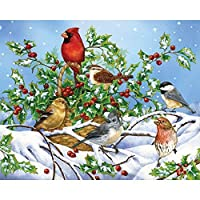 Bits and Pieces - 500 Piece Jigsaw Puzzle -Holly Birds - Birds in the Snow w/ Cardinal - by Artist Jane Maday - 500 pc Jigsaw by Bits and Pieces