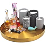 FREELOVE Gold Serving Tray, 12 in. Round Tray Stainless Steel Platter Bathroom Sink Vanity Trays Cosmetics Jewelry Organizer