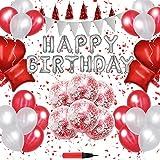 誕生日 飾り付け 風船 Happy Birthday バルーン パーティー 装飾 RunTure バースデー デコレーション セット きらきら風船 パーティー お祝い 赤い色