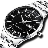 [メガリス]MEGALITH腕時計 メンズ時計ステンレス防水 アナログクオーツ腕時計 曜日付け 日付表示ラグジュアリーおしゃれウオッチ ビジネス カジュアル メタル男性腕時計 シルバー