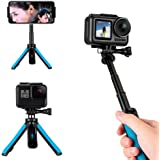 TELESIN Mini Selfie Stick Tripod Stand Mount perfect for GoPro Max, Hero10 9 8 7 6 5 4, Session 4/5, DJI Osmo Action, Insta 3