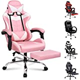 ALFORDSON Racing Gaming Chair Executive Sport Office Chair with Footrest PU Leather Armrest Headrest Home Chair (Vogler Pink)
