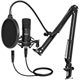 XLR Condenser Microphone, UHURU Professional Studio Cardioid Microphone Kit with Boom Arm, Shock Mount, Pop Filter, Windscree