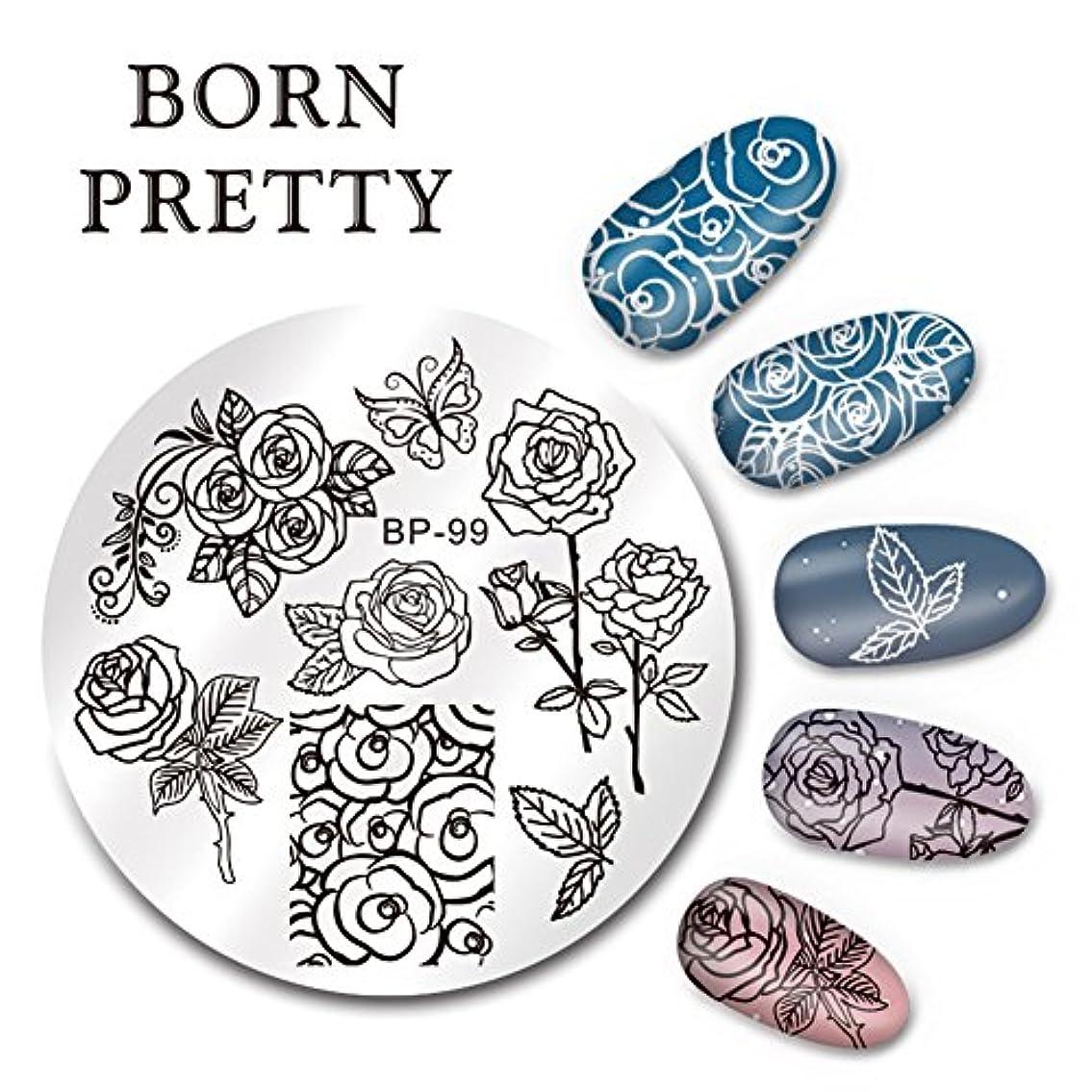 換気するリングレット後世BORN PRETTY 蝶*花柄 イメージプレートスタンピングプレートネイルアート5.5cm 丸い BP-99