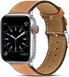 BRG 兼容性 Apple Watch 表帶升級版 真皮 商務風格 可編成 蘋果手表表帶 兼容Apple Watch 6/5/4/3/2/1/SE(42mm/44mm,棕色)