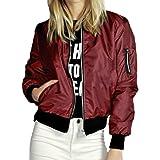 CHARLES RICHARDS CR Women's Zipper Detail Long Sleeve Plain Bomber Jacket