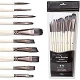 10pcs Artist Paint Brush Set, Short Handle Multi-Functional Brushes for Oil Painting, Watercolor, Acrylic Beginner or Profess