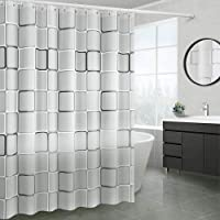 QINGMU シャワーカーテンPEVAの大きい正方形のシャワーカーテン150×180 / cm樹脂製シャワーカーテンリン…