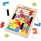Coogam Wooden Tetris Puzzle Brain Teasers Toy Tangram Jigsaw Intelligence Colorful 3D Russian Blocks Game STEM Montessori Edu