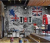 Mbwlkj ヴィンテージレンガの壁紙3 Dレトロロンドンブースの写真の壁紙壁画3Dホームバーカフェの装飾自己接着壁紙-250cmx175cm