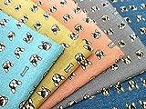1m単位 生地 布 綿 ダブルガーゼ デニム調 フレンチブルドック&無地 38013-1 (E(藍色)) [並行輸入品]