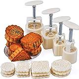 Resulzon Mooncake Fodant Gift DIY Moon Cake Mold with 12 Pcs Mode Pattern for 4 Sets