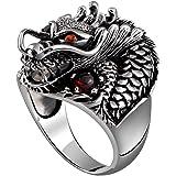ビンテージ 925 スターリングシルバー威圧的ドラゴン Ruby パンクロックリングリング男性用の MetJakt 宝石( 8.5 )