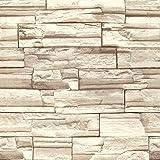 (ハンメロ)HANMEROリビング 部屋 diy リフォーム用 レンガ柄 はがせる ビニール壁紙 のりなし 53cm×10m ベージュ