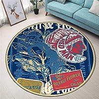 YETUGE-X ラグカーペット 円形 おしゃれ 洗える オールシーズン 北欧 カーペット リビング 子供部屋 可愛い柄