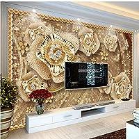 Lixiaoer カスタム写真壁紙3D高級ジュエリー花壁画リビングルームテレビソファ背景壁布環境に優しいE-150X120Cm