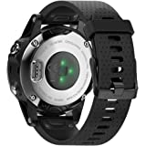 ANCOOL for Garmin Fenix 5S Band 20mm Width Easy Fit Soft Silicone Watch Band with Black Color Metal Buckle for Fenix 5S - Bla