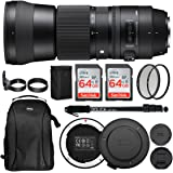 Sigma 150-600mm 5-6.3 Contemporary DG OS HSM Lens for Canon DSLR Cameras 745101 w/USB Dock + Two 64GB SD Card Advanced Photo