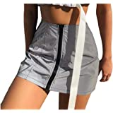 Howely Womens Reflective Zips Short Skirt Skinny High Waist Pencil Skirt
