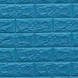 FOWOS 3D立体壁紙 DIYレンガ調壁紙シール 70x77cm ウォールステッカー 軽量レンガシール 壁紙シール 自己粘着 防水 多色選択 (厚い) (お得3枚セット, ブルー)
