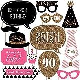シック90th Birthday – ピンク、ブラックとゴールド – 誕生日パーティー写真ブース小道具キット – 20カウント