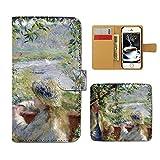 Tiara iPhone8 Plus 5.5 iPhone8Plus スマホケース 手帳型 アート ルノワール 湖の傍で 手帳ケース カバー [E022603_05]