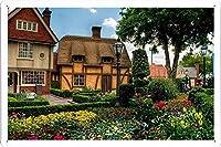 花木タウン花壇ハウス13772のティンサイン 金属看板 ポスター / Tin Sign Metal Poster of Flowers Trees Town Flower Bed Houses 13772