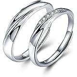JUDYの秘密<愛の言葉>ペアリング カップル リング スワロフスキージルコニア 純銀製指輪 レディースリング メンズリング キラキラ 結婚指輪 婚約指輪 エンゲージリング 専用ボックスつき フリーサイズ(ペアリング石有り・ジュエリーボックス)