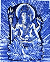 Indian Lord Shiva PrintedバティックコットンWall Hanging 44 x 30インチ( Large )