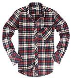 ( UN ANANAS )お出かけ チェック シャツ 大きいサイズ 長袖 男性 メンズ 秋 冬 カジュアル トップス (レッド2XL)