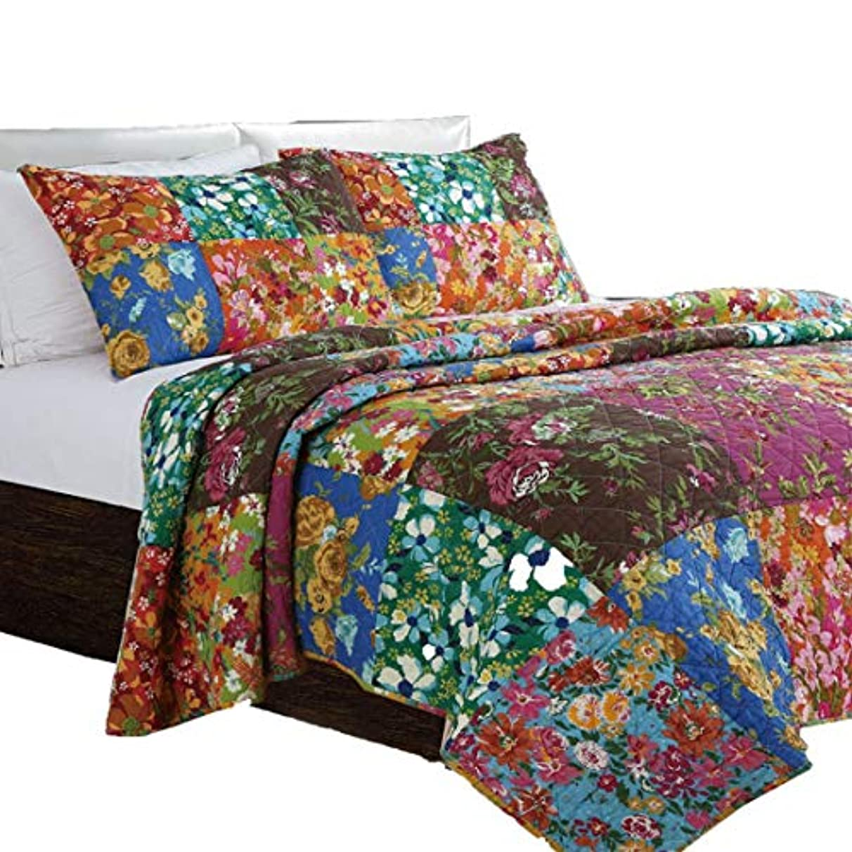 駐地忙しい不振FENXIMEI キルティングキルト、ベッド カバー コットン 3ピース ハンド ステッチキルティング シート 高級 ベッド シート セット (色 : Multicolor)