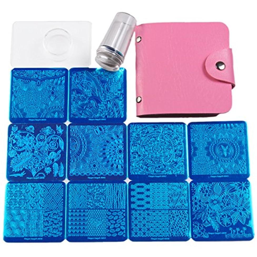 ブリード知るピンチFingerAngel ネイルイメージプレートセット ネイルプレート正方形10枚 透明スタンプ スクレーパー ピンクカードバッグ 自宅でもできるネイルアート