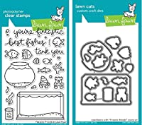 Lawn Fawn Fintastic Friends Clear Stamp and Die Set - Includes One Each of LF891 (Stamp) & LF892 (Die) - Bundle Of 2 by Lawn Fawn