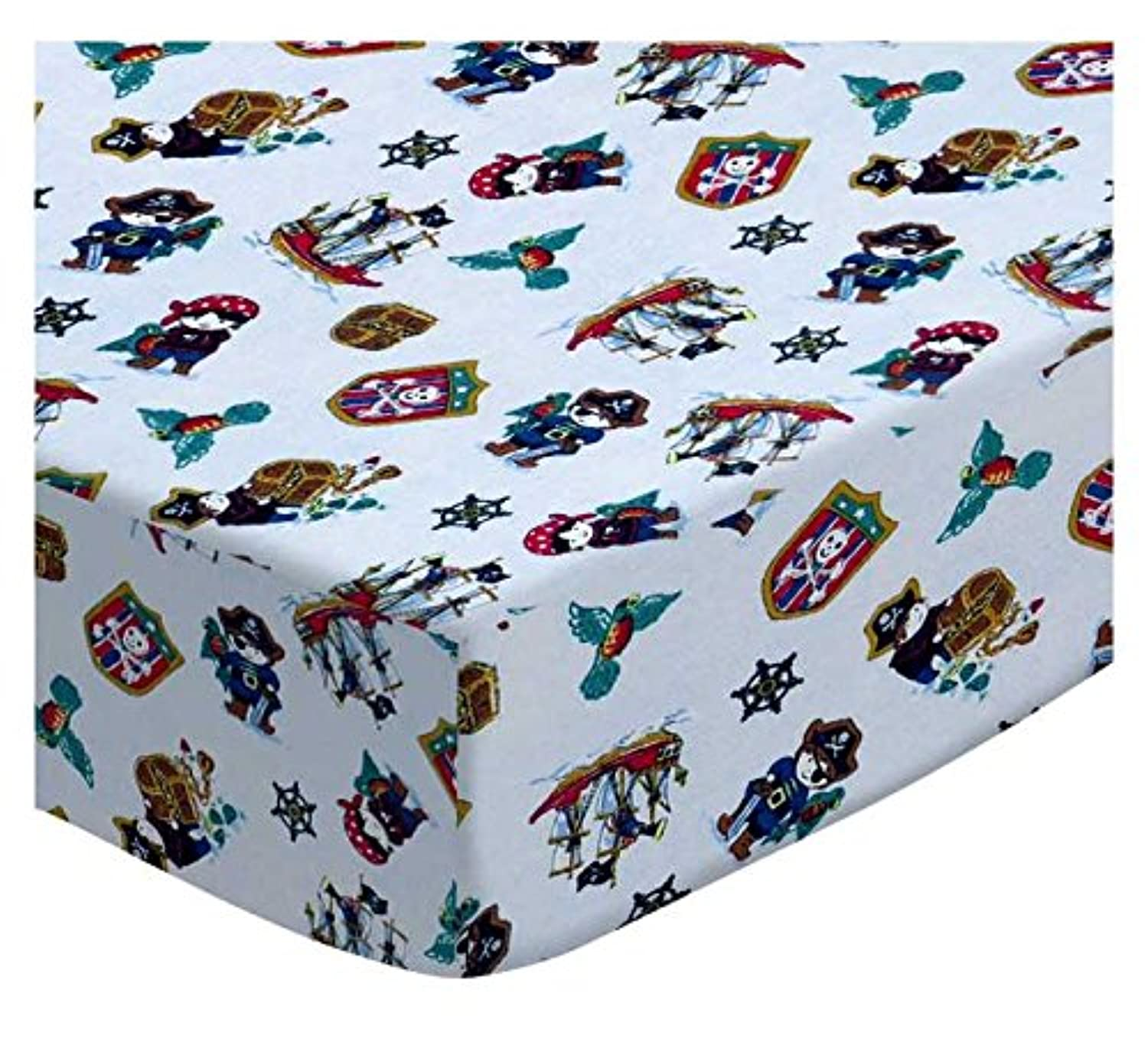 SheetWorld Fitted Square Playard Sheet 37.5 x 37.5 (Fits Joovy) - Pirates - Made In USA by sheetworld