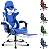 ALFORDSON Gaming Chair Racing Chair Executive Sport Office Chair with Footrest PU Leather Armrest Headrest Home Chair in Blue