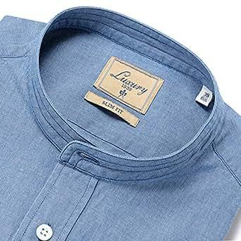 (チットラグジュアリー) CIT LUXURY 製品洗いコットンシャンブレーバンドカラーシャツ「CITY」 (ライトインディゴブルー) メンズ 41【返品・交換不可】