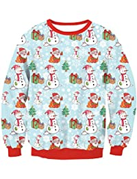 Zhuhaitf クリスマスのファッション レディース Ugly Christmas Sweater Pullover All Over Patterns Long Sleeve Womens Tops
