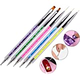 Waldd 5 Pieces Nail Art Point Drill Drawing Brush Pen Manicure Care Tool Nail Brushes Double Ended Dotting Tools Set Nail Art