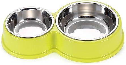 猫&犬食器スタンド ペット用食器 高質量ステンレス製 ダブルボウル付き 小型犬&猫用エサ入れ …