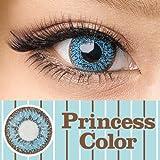 処方箋不要 princess color カラー コンタクト レンズ 1箱2枚入 1ヶ月交換 度なし ブルー