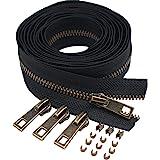 (Anti-Brass Teeth) - Meillia 4.5 Antique Brass Metal Zippers by The Yard Bulk 2 Yards + 10PCS Pulls for Sewing, Bags, Handbag