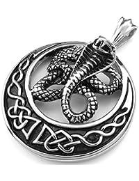 SODIAL ( R )ステンレススチールジュエリーゴシックトライバルコブラ蛇メンズペンダントwith 60 cmチェーン、ネックレス、ブラックシルバー