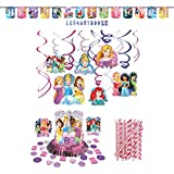 Cedar Crate Market Disney Princess Dream Big Party Decorations Party Supplies Pack: Straws, Table Decorating Kit, Hanging Swirls, and Banner