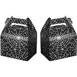 24pcs Halloween Favor Boxes Paper Black Spider Web Gift Bags Halloween Treat Boxes for Halloween Kids Birthday Decorations Sp