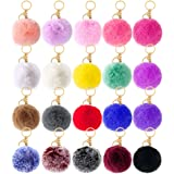 20 Pcs Faux Fur Ball Pom Poms Keychains, Womens Girls Pom Pom Keychain for Car Key Ring Handbag Purse Tote Bag Pendant Fluffy
