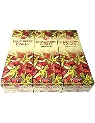 ストロベリーバニラ香スティック 3BOX(18箱) /HEM STRAWBERRY VANILLA/インセンス/インド香 お香 [並行輸入品]