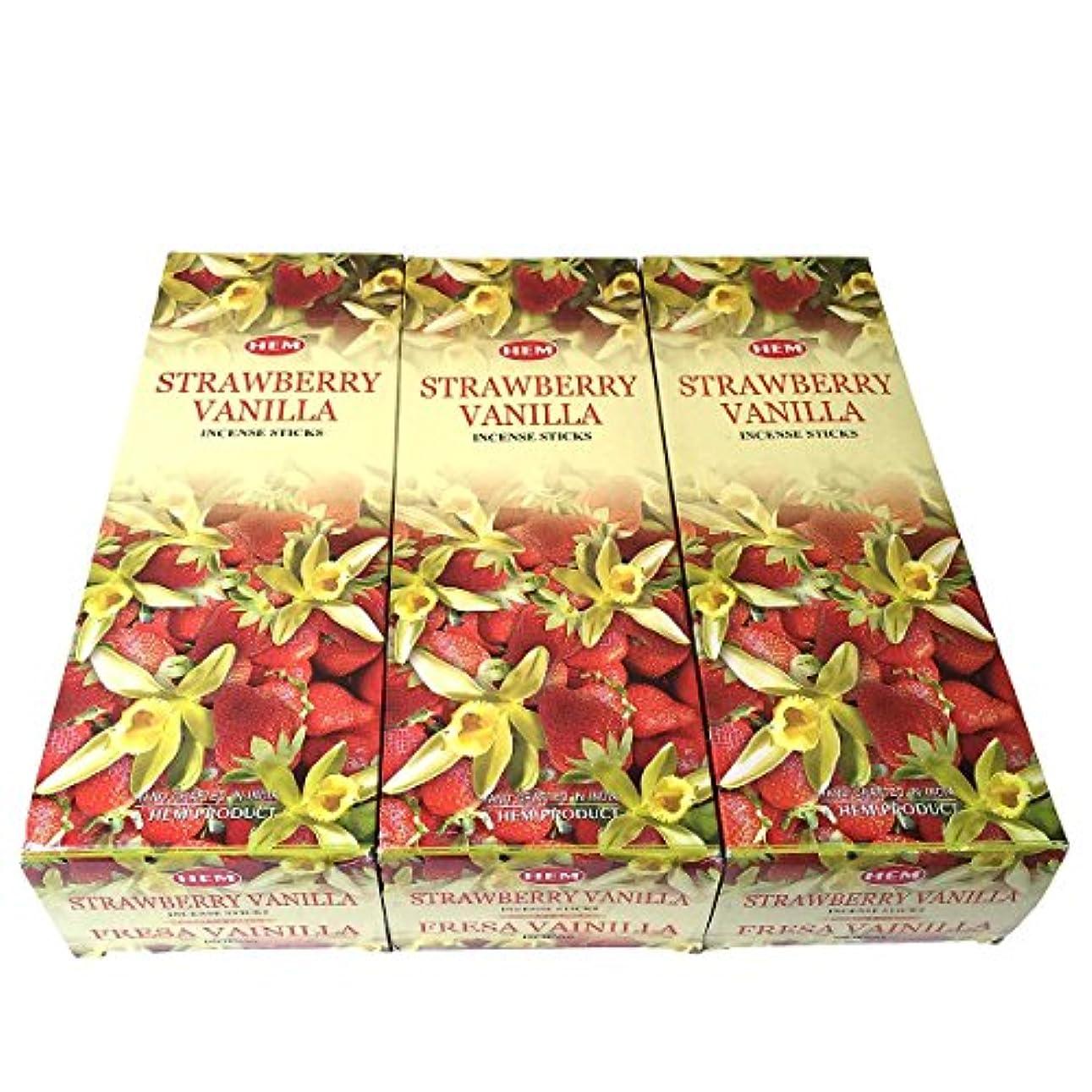 用心するさらに下にストロベリーバニラ香スティック 3BOX(18箱) /HEM STRAWBERRY VANILLA/インセンス/インド香 お香 [並行輸入品]